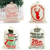 Sacco regalo di Babbo Natale in tela calza di immagazzinaggio tela da imballaggio Borsa Bundle Decorazioni natalizie