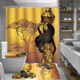 African Girl Ванная комната Коврик для унитаза с ковриком для унитаза Нескользящий коврик 180x180cm