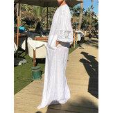 Dantel Patchwork V yaka Uzun Kollu Tatil Maxi Elbise