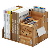 Multi-function Desktop Organizer Wooden Storage Rack Office File Tray Wood Display Shelf with Tissue Holder