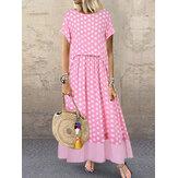 Lässige Polka Dot Stitching zwei Stücke Sommer Maxi Kleid