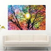 Hermoso abstracto colorido sol árbol arte seda tela cartel papel pintado decoración cartel impresión etiqueta de la pared