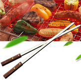 1Pcs 54cm Long Stainless Steel BBQ Barbecue Skewer Wood Handle Grill Roasting Stick Fork