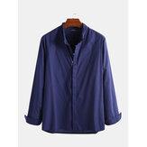 Men's Loose Fit Shirt Linen Solid Button Down Causal Dress Top Retro Male Blouse