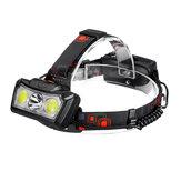 XANES® BT005 1300LM T6 + 2xCOB LED Scheinwerfer Wasserdicht 4 Modi Laufen im Freien Camping Wandern Radfahren Licht 2x18650 DC Wiederaufladbare Schnittstelle