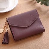 Women Tassel Small Mini Wallet Card Holder Clutch Coin Purse Leather Handbag