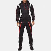 Mens esporte patchwork grosso cintura elástica terno casual