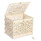 DIY Bauhinia Ahşap Düğün Kart Kutu Düğün Para Kutu Ahşap Hediye Kılıf Altın Kilit Düğün Doğum Günü Partisi Yıldönümü Ev Ajur Oyma