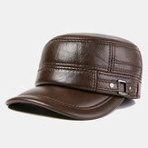 Mens Winter Warm Genuine Leather Flat Hats Windproof Outdoor Top Layer Leather Trucker Hats