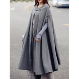 Womens Solid Winter Long Cape Cloak Casual Coats Robe Waistc