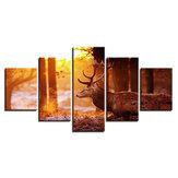 HD спрей роспись стен 5 штук лесной лось рисует картины холст украшения дома росписи росписи