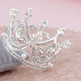 Mini Circle Round Pearl Crown Kid Brautprinzessin Strass