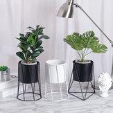 Ogrodnictwo Biały czarny metalowy stojak Ceramiczny doniczkowy sukulent Pulpit Wazon Dekoracje do sadzarek kwiatowych