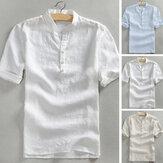 Camiseta de algodón de manga corta casual para hombre V Cuello Top Playa Leisure T Camisa Tees