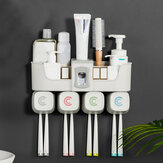 Toothpaste Dispenser Toothbrush Holder No Drill Wall Mount Bathroom Storage Shelf Rack
