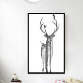 Miico Hand Painted Oil Paintings Simple Style Deer Family B Wall Art For Home Decoration Painting