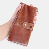 Men Genuine Leather Wallet Zipper Clutch Bag