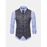 Mens Plaid Suit Collar Vest
