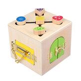Hölzerne Montessori praktisches Material Little Lock Box Kinder frühen Lernspielzeug