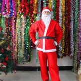 Conjunto adulto de fantasia de Papai Noel de Natal com 5 peças Conjuntos de Natal Cosplay com Cinto Barba Chapéu Calças
