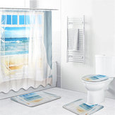4PCS Bathroom Window Shower Curtain Set Beach Print Patent Prints Polyester