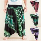Męskie cygańskie spodnie haremowe Dashiki African Print Aladdin Hippie Bohemian Yoga Pant