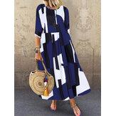 Vestido longo feminino com decote em O com estampa geométrica solta