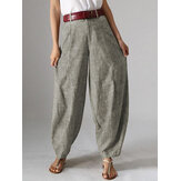 Women High Waist Button Solid Color Harem Pants with Pocket