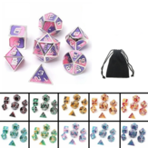 7Pcs Mixed Color Polyhedral Dice Metal RPG Dices Set with Velvet Bag Dungeons and Dragon Black Table Games Zinc Alloy Math Teaching
