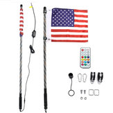 12V 3FT/4FT/5FT LED 4WD Strip RGB Color Whip America USA Flag Light With Remote Control For Jeep ATV UTV RZR Motorcycle Accessories