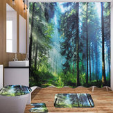 Bath Curtains Waterproof Polyester Fabric Washable Bathroom Shower Curtain Screen with Hooks Accessories