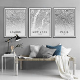World City Map Abstract Poster Nordic Art Prints Paintings Wall Decoration