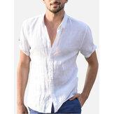 Comfy Cotton Breathable Summer Casual Shirts Plus Size Plain Simple Shirt for Men