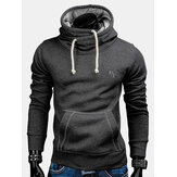 Mens Solid Color manga comprida Slim Fit Hoodies Moletons