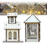 LED Light Wood House Cute Christmas Assembly Party Ornaments Holiday Decorations