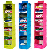 9 Shelves Hanging Closet Wardrobe Clothes Rack Storage Organizer Bag Blanket