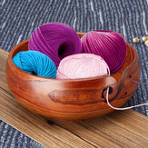 Natural Jujube Wooden Yarn Bowl Holder For Knitting Crochet Skeins Home Decorations