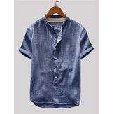 Mens Vintage Cotton Shirts Stand Collar Solid Color Short Sleeve Loose Henley Shirts