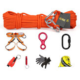 XINDA 8 In 1 Outdoor Survival Kits 10m Climbing Rope Safety Belt Carabiner  Window Breaker Gloves Whistle Speed-drop Ring Non-slip Hiking Fire Escape Tools