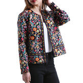Ethnic Floral Print Long Sleeve Coats