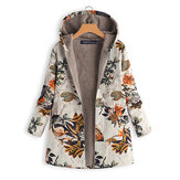 Women Long Sleeve Winter Warm Jacket Fleece Hoodies Hooded Coats