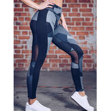 Women Casual Patchwork Printing Yoga Sport Running Leggings