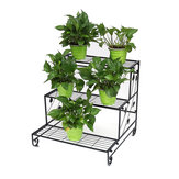 Iron Fower Stand Floor Multi-layer Plants Rack 3 Tiers Ladder Shelves Bookshelf Flower Pot Stand for Balcony Living Room