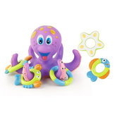 Octopus Floating Soft Rubber ABS Baby Bath Toys with 5 Marine Animal Rings Cast Circle for Kids Gift