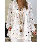 Women Loose Baggy Shirt Long Sleeve Print Star Print Blouse