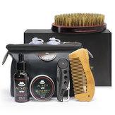 7Pcs Beard Care Kit herramienta Set Moustache Grooming Styling Kits de limpieza Cepillo + Peine + Crema Oil + Bálsamo + Almacenamiento Bolsa