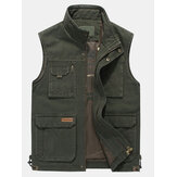 Mens Big Size Casual Outdoor Cotton Multi Pocket Function Loose Vest