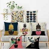 INS Nordic Ananas Kaktus Geometryczny styl Lniana poszewka na poduszkę Home Sofa Art Decor Siedzisko Poszewka na poduszkę