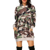Loose Pocket Pullover Camouflage Print Hoodie Dress