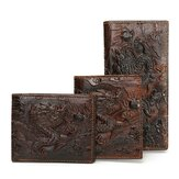 Mannen lederen Dragon lange korte portemonnee Coin Money kaarthouder Clutch Purse
